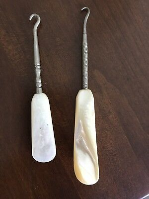 Two Antique Boot Hooks..beautiful Mother Of Pearl Handles