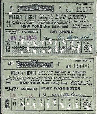1948 The  Long Island R.R. Co. Weekly Ticket