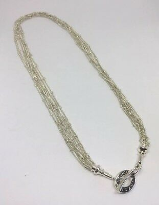 """Links Of London Vintage Sterling Silver Toggle Mesh Strand Rainfall Necklace 18"""""""