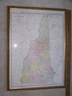 "22x23"" FRAMED ANTIQUE 1916 Rand McNally NEW HAMPSHIRE HAND COLORED Railroad MAP"