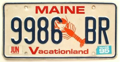 """Maine 1995 """"Lobster"""" License Plate, 9986 BR"""
