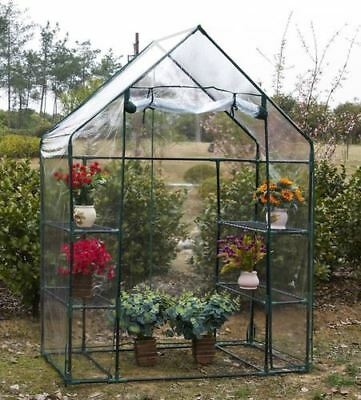 Walk In Greenhouse with 6 Shelves PVC Plastic Garden Grow Green House Greenhouse