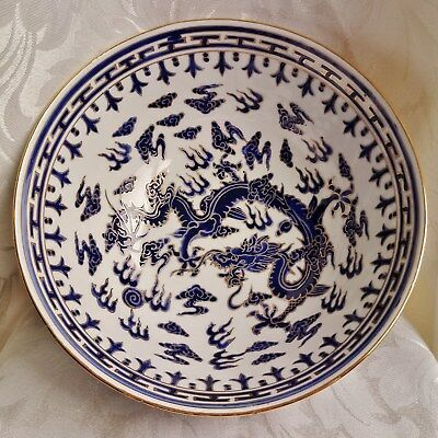 CHINESE Porcelain Large Blue and White Bowl Dragon & Flaming Pearl of Wisdom