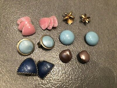 Job Lot: 1950/1960s Vintage clip on Earrings X 6 Pairs