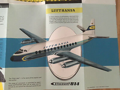 Lufthansa Airlines Vickers Viscount 814 Intro Promo Brochure 1958 Cut Away