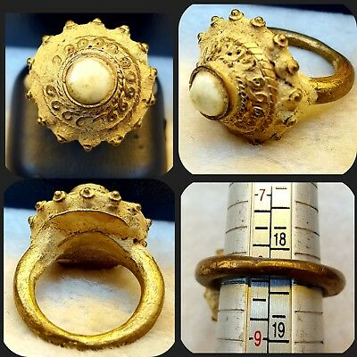 Gold Gulied Beautiful Antique Roman Ring With Wonderful & Rare White Agate #RAG9