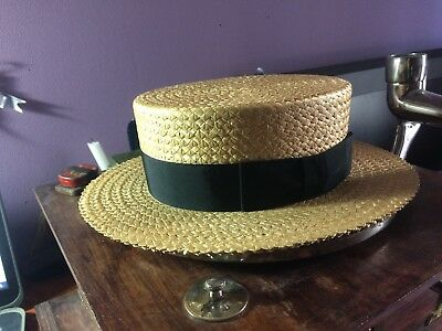 Vintage straw boater skimmer hat, 6 3/4 size, black band, US made, Gatsby style!