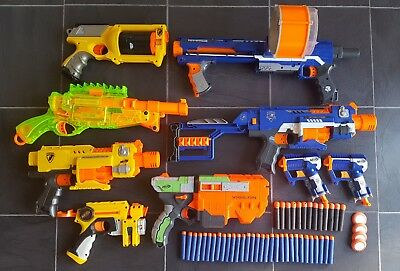 Nerf Gun Bundle - 9 Guns - 44 Darts - Stockade Rampage Barricade Maverick Triad