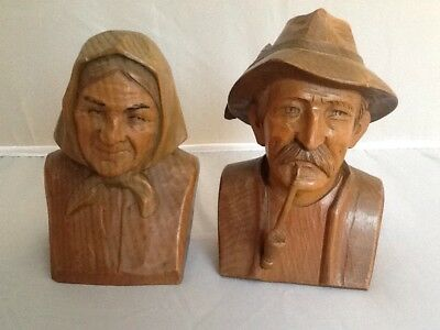 Superb Pair Wooden Of Antique Black Forest Carved Heads