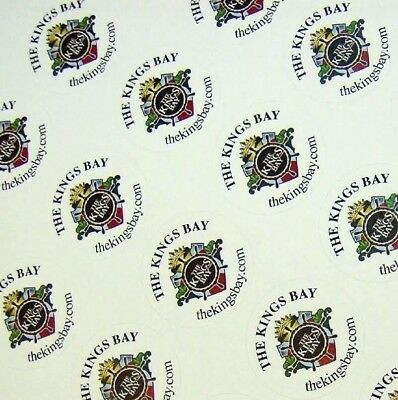 "Full Color Labels Custom Printed 1"" Round 5000 Business Stickers White Removable"