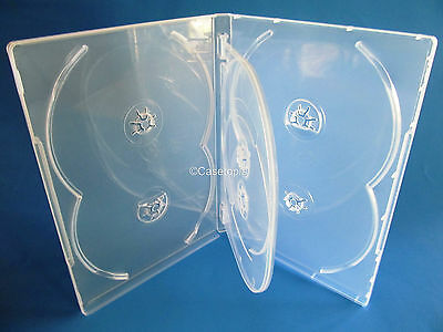 NEW! 3 Premium 6-Disc DVD Case 14mm Clear - Holds 6 discs - Six