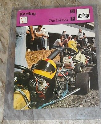 1978 sportscaster KARTING Go Kart Racing card classes defined