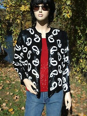"Sequined Black & White Jacket M 42""Bust Beaded Edges Silk & Rayon India Handwork"
