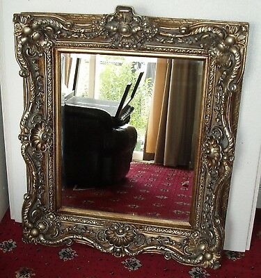 Vintage Baroque Carved Wood Effect Antique Ornate Square Mirror 78 x 87cm - NEW