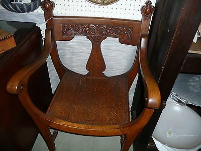 Incredible Vintage Oak Curved back & seat  chair - detailed carving- c1800s