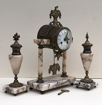 Antique Mantle Clock French Marble Garniture Clock Set With Urns