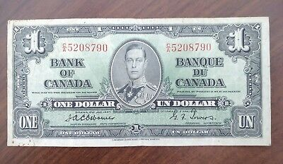 Vintage 1937 Bank of Canada $1 One Dollar Osborne Towers Banknote Note