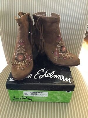 6b365e858 SAM EDELMAN WINNIE Suede Embroidered Ankle Booties Size 10 Whisky ...