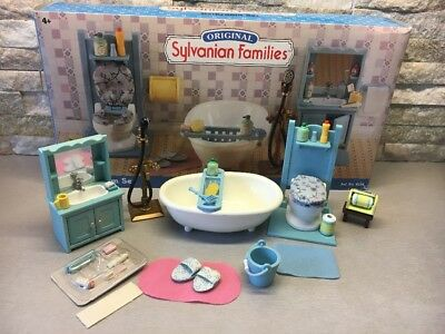 Sylvanian Families - Super Rare Vintage Blue Bathroom Set With Box Retired Htf