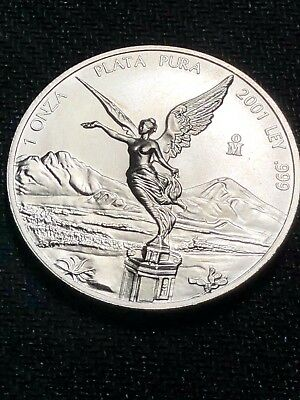 2001 BU Uncirculated Silver Mexican Libertad Proof BeautifulBreath Taking Coin!