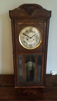 Antique 1920's Chiming Oak Wall Clock with Pendulum and Key (Glass Fan Beading)