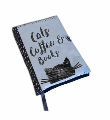 Book Cover Handmade, Book Cover Fabric, Cats Coffee Books, Notebook, Diary Cover
