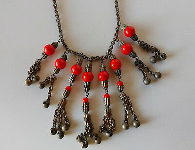 Antique Or Vintage Bib Necklace, Glass Beads On Chains, White Metal, Old Clasp
