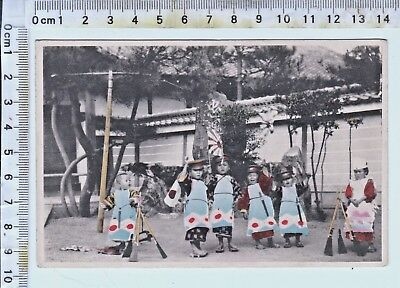 Untitled - Group of Young Children - Japanese Hand Colored Photo Postcard