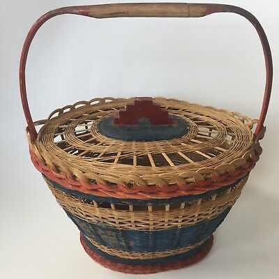 Antique Basket Bamboo Handle Red/Green Paint Primitive