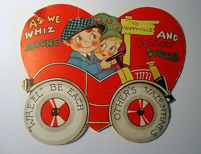 """Antique Valentine card 1933 couple in a car """"As we whiz along to Happyville."""" Fr"""