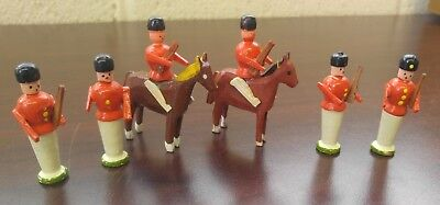 Set of 6 Small Vintage Wooden Christmas Soldiers Crafts (8oz)