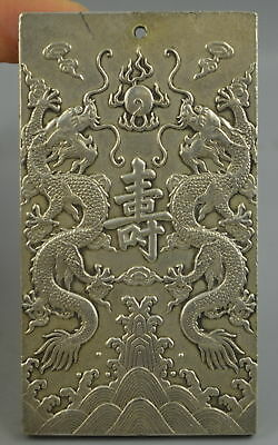 China Decorate Collectibles Tibet Silver Carve Double Dragon Rare Lucky Pendant