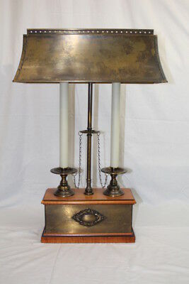 Vintage Bouillotte Double Candlestick on Wood Box w/ Brass Shade Table Lamp