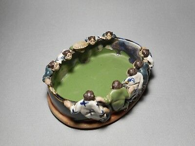 19th C. Antique Japanese Sumida Gawa 10 Figure Oval Pottery Bowl