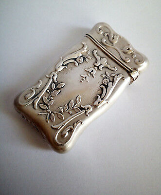 Antique Sterling solid silver 925 Floral matchsafe case vesta Art Nouveau