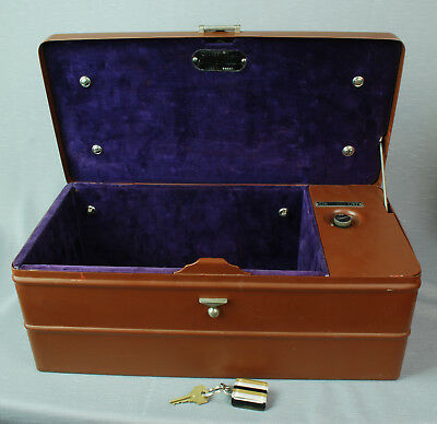 "WORKING 1930's Sentinel Alarm Lock Box Model ""H"" with Key - Jeweler Bank Safe"
