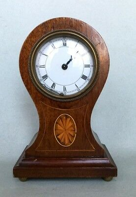 ANTIQUE MANTEL BALLOON CLOCK enamel face wind up vintage marquetry mechanical