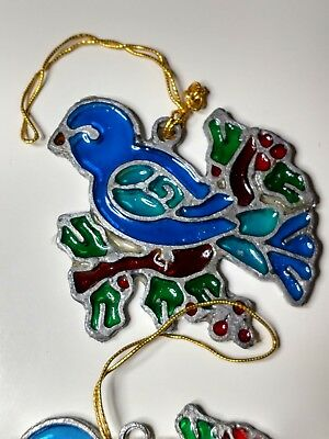 LOT of 2 Kurt S Adler Stained Glass Ornaments 1979 GREAT CONDITION