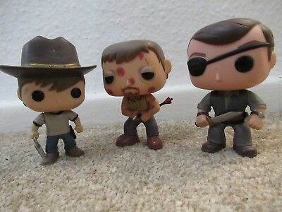 Bundle 3 Funko Pop The Walking Dead figure toy RARE The Governor Carl Daryl