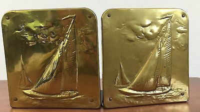 """Vtg Sailboat Bookends Stamped Brass Front Felt Bottom and Back 5"""" x 5"""" approx."""