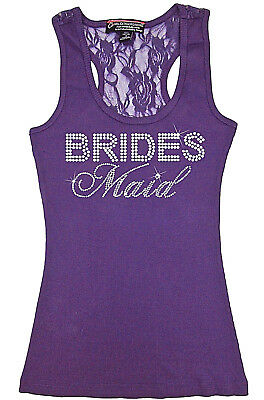 Purple Bridesmaid Lace Racerback Rhinestone Tank FS Bachelorette Shirts - Large