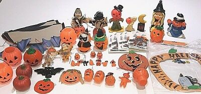Vintage Lot Old Halloween Decorations Plastic Ornaments Candles Treat Bags Etc