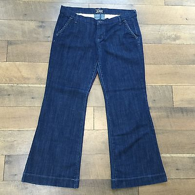 OLD NAVY THE DIVA BLUE JEANS Low Rise Dark Wash Braided Trim Womens Size 14 R