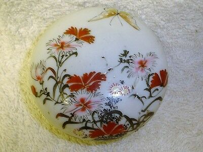 Lovely Antique Japanese Hand Painted Floral Trinket/Rouge Porcelain Box