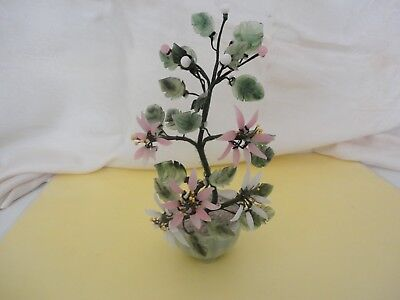 Vtg Asian Chinese Japan Jade Bonsai Pink Cherry Blossom Tree In Rock Pot - 8""