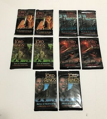 Lot of 10x Assorted Sealed Packs of Lord of The Rings CCG Cards NEW