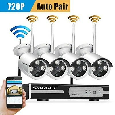 Wireless Security Camera System,SMONET 4CH 1080P Video Security System,4pcs 720P