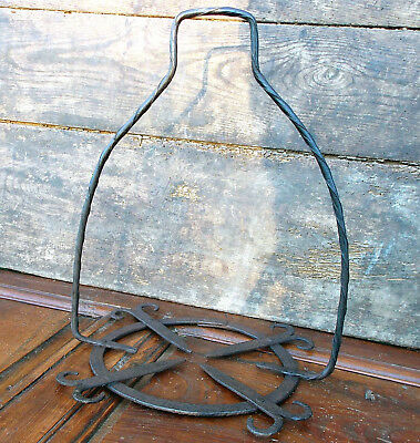 18th century French decorated wrought iron hearth cauldron support circa 1800