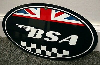 BSA British Motorcycle oval sign... buy any 10 signs FREE shipping