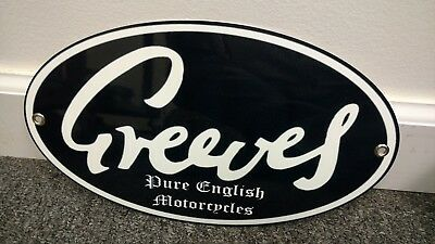 Greeves British Motorcycle oval sign . ..buy 10 signs FREE ship...last one